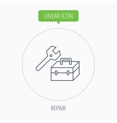 Repair toolbox icon Wrench key sign vector image