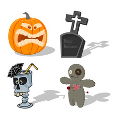 scary halloween signs pumpkin voodoo doll vector image