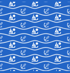 seamless pattern with ropes and boats ongoing vector image