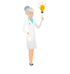 Senior caucasian doctor pointing at idea lightbulb vector