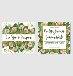 set beautiful cards banner wedding vector image