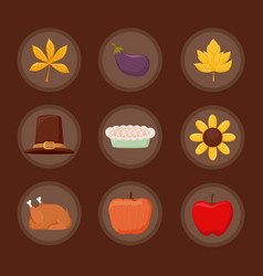 Set icons of thanksgiving day happy vector