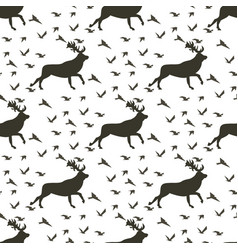 set image pattern deer and flocks birds vector image