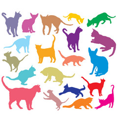 set of colorful cats silhouettes-2 vector image