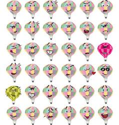 set of colorful hot air balloon character emojis vector image