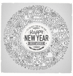 Set of New Year cartoon doodle objects round frame vector image