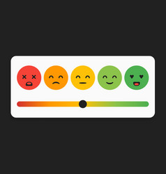 smiley faces for rating or review feedback rate vector image