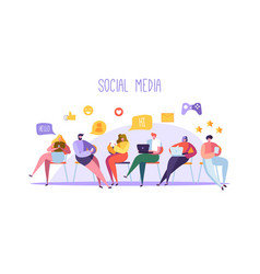 social media concept with characters with gadgets vector image