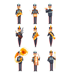 Soldiers playing musical instruments set members vector
