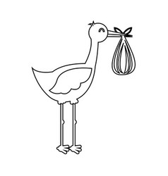 stork with baby bag icon vector image