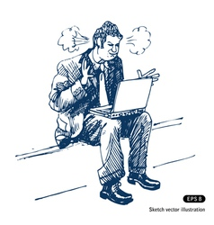 Stressed man sitting on step with laptop vector