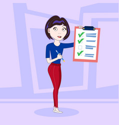 successful business woman holding done checklist vector image