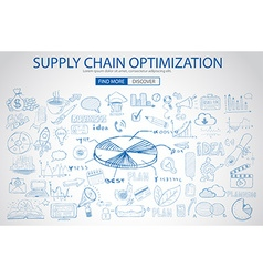 Supply Chain optimization concept with Doodle vector image