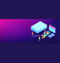 tax form isometric 3d banner header vector image