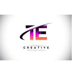 Te t e grunge letter logo with purple vibrant vector
