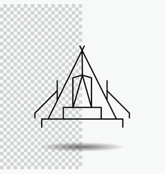 Tent camping camp campsite outdoor line icon on vector