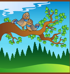 two cute birds sitting on branch vector image