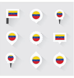 Venezuela flag and pins for infographic and map vector