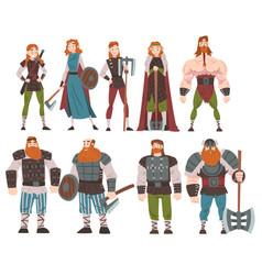 Vikings with weapon and ancient draccar set vector