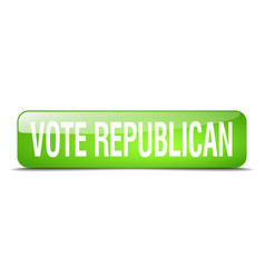 Vote republican green square 3d realistic vector