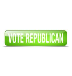 Vote republican green square 3d realistic vector