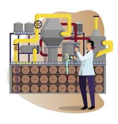 Winery industrial production wine winemaker vector