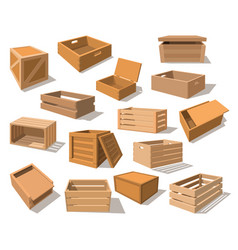 wooden packages or realistic wood boxes vector image