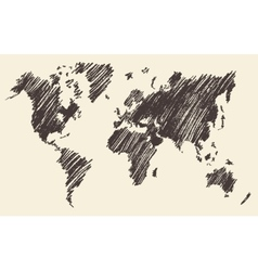 World Map Contour vector image