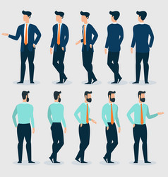 Young businessman character gestures and poses vector