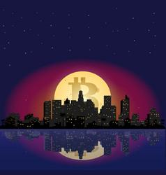 bitcoin icon on the moon vector image