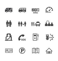 dangers of public bus icons set flat design vector image