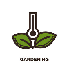 gardening logo design with thermometer and two vector image vector image
