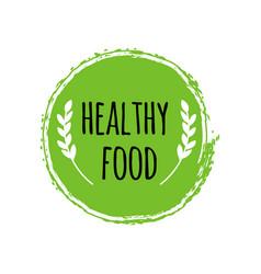 healthy food logo green circle brush vegan badge vector image vector image