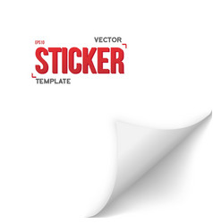 Paper sticker realistic bended page white vector