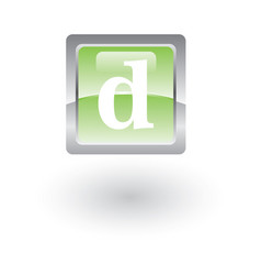 square glossy icon letter d vector image
