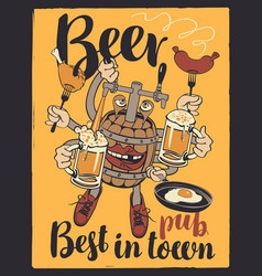 banner with beer monster barrel with your hands vector image vector image