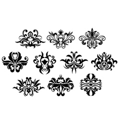 Black flowers silhouettes design elements vector image vector image
