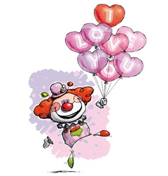 Clown with Heart Balloons Saying I Love You vector image vector image