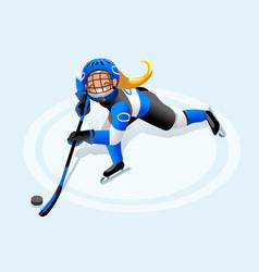 hockey girl cartoon player vector image