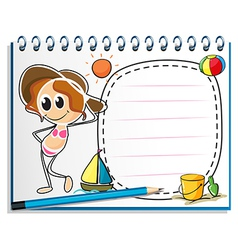 A notebook with an image of a girl ready for vector image vector image