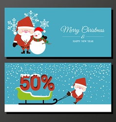 Abstract Christmas banner with Santa Claus vector image