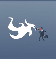angry boss business man screaming in megaphone red vector image