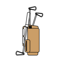 color silhouette cartoon bag with golf clubs vector image vector image