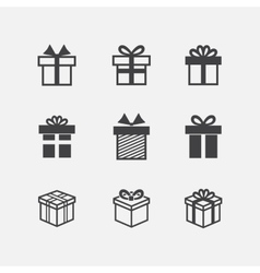 Gift box black icons vector