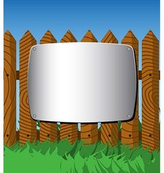 Metal plate on the fence vector image vector image
