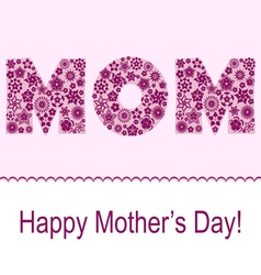 Mothers day card with flower symbol set vector image vector image