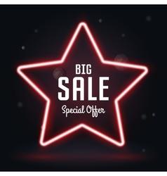 Neon frame sale star banner vector
