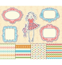 Romantic set of labels frames and pattern vector image vector image
