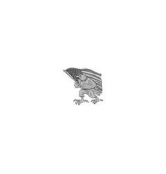 american eagle waving usa flag cartoon vector image vector image