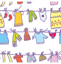 Baby clothes set seamless pattern vector image